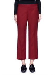 The Row 'Seloc' Cotton Satin Cropped Pants Red