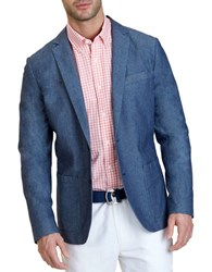 Nautica Button Front Chambray Blazer Midnight