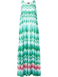 Missoni Zig Zag Print Draped Dress Green