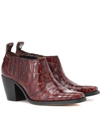Ganni Nola Embossed Leather Ankle Boots Brown