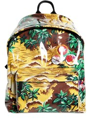 Dsquared Plastic Covered Printed Canvas Backpack Multicolor