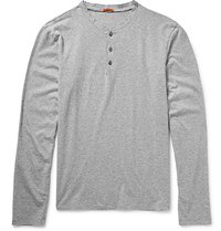 Barena Striped Cotton Jersey Henley T Shirt Gray