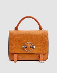 J.W.Anderson Disc Croc Embossed Satchel In Tangerine