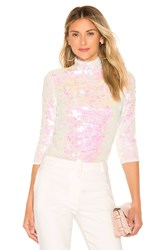 Milly Sequin Turtleneck White