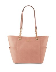 Calvin Klein Leather Wool Accented Tote Deep Blush