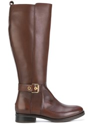 Tommy Hilfiger Knee High Boots Cotton Calf Leather Leather Rubber Brown