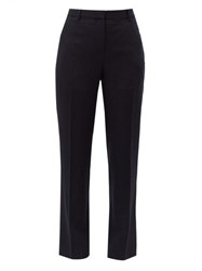 Givenchy Tailored Wool Crepe Slim Leg Trousers Navy