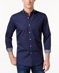 Club Room Men's Anchor Print Shirt Only At Macy's Navy Blue