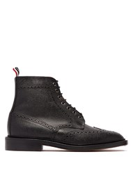 Thom Browne Wingtip Grained Leather Boots Black