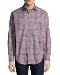Neiman Marcus Plaid Woven Shirt Grey