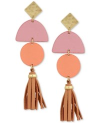 Lucky Brand Gold Tone Leather Tassel Drop Earrings