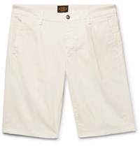 Tod's Pleated Stretch Cotton Twill Shorts White