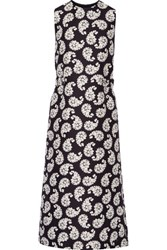 Mother Of Pearl Simmons Printed Cotton And Silk Blend Midi Dress Midnight Blue