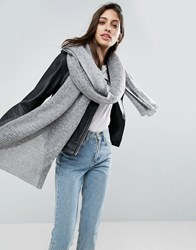 Asos Oversized Long Knit Scarf Gray