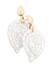 Tamara Comolli India 18K Rose Gold Mother Of Pearl Leaf Earrings