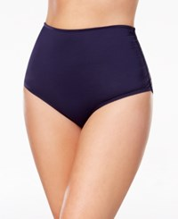 Anne Cole Plus Size High Waist Bikini Bottoms Women's Swimsuit Navy