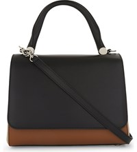 Max Mara Leather Front Flap Tote Black Camel