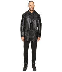 D.Gnak Zip Sleeve Leather Jacket Black Men's Coat