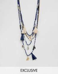 Reclaimed Vintage Multi Beaded Necklace In Blue Blue