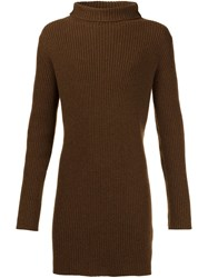 Ann Demeulemeester Rib Knit Sweater Brown