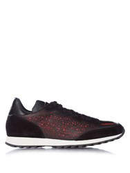 Alexander Mcqueen Laser Cut Suede And Leather Trainers Black Multi