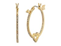 Kate Spade Be Mine Heart And Arrow Hoops Clear Gold Earring