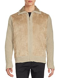 Saks Fifth Avenue Chenille Zippered Jacket Oatmeal