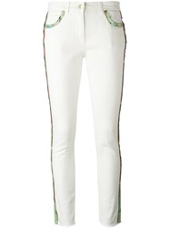 Etro Lateral Strap Cropped Jeans White