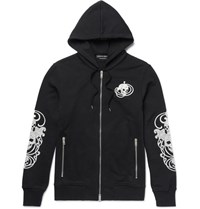 Alexander Mcqueen Embroidered Loopback Cotton Jersey Hoodie Black