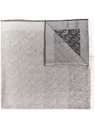Emporio Armani Logo Embroidered Scarf Grey
