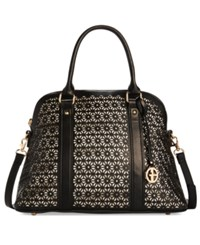 Giani Bernini Perforated Floral Leather Dome Satchel Only At Macy's Black