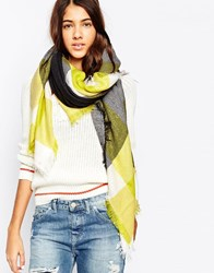Liquorish Oversized Blanket Wrap Check Scarf Grey