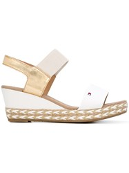 Tommy Hilfiger Braided Sole Wedge Sandals Women Cotton Raffia Leather Rubber 41 White