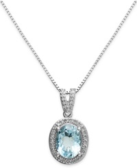 Macy's Aquamarine 1 3 4 Ct. T.W. And Diamond 1 8 Ct. T.W. Oval Pendant Necklace In Sterling Silver Blue