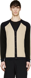 Marni Beige And Navy Colorblocked Cardigan