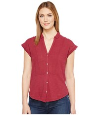 Lucky Brand Woven Gauze Mixed Top Wild Currant Women's Short Sleeve Button Up Red