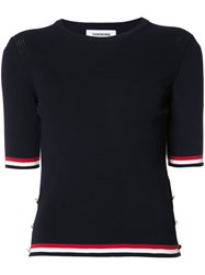 Thom Browne Striped Detail T Shirt Blue
