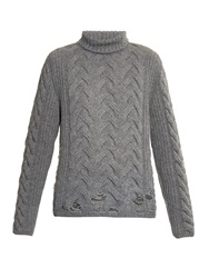 Aries Holey Cable Knit Wool Blend Roll Neck