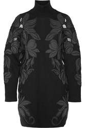 3.1 Phillip Lim Embroidered Cotton And Cashmere Blend Turtleneck Sweater Dress Black