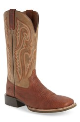 Ariat Heritage Latigo Square Toe Cowboy Boot Cognac Brown Bomber Leather
