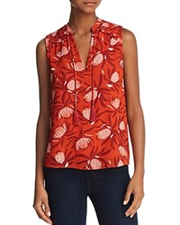 Cooper And Ella Liv Smocked Tie Neck Tank Red Blossom Print