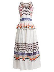 Temperley London Spellbound Geometric Embroidered Cotton Dress White Multi