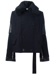 Sacai Fur Collar Peacoat Blue