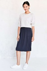 Silence And Noise Dover Pull On Midi Skirt Navy