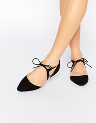 Oasis Tie Up Cut Out Pointed Flat Shoe Black