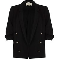River Island Womens Black Ruched Sleeve Button Blazer