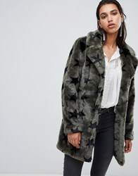 Goosecraft Faux Fur Jacket With Stars Army Green Black Sta