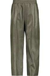 M Missoni Cropped Leather Wide Leg Pants Green
