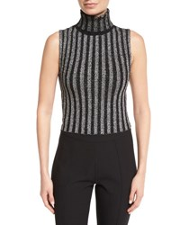 Cinq A Sept Cielo Turtleneck Metallic Striped Top Black Silver Black Silver