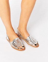 Warehouse Metallic Huarache Plaited Sandal Silver